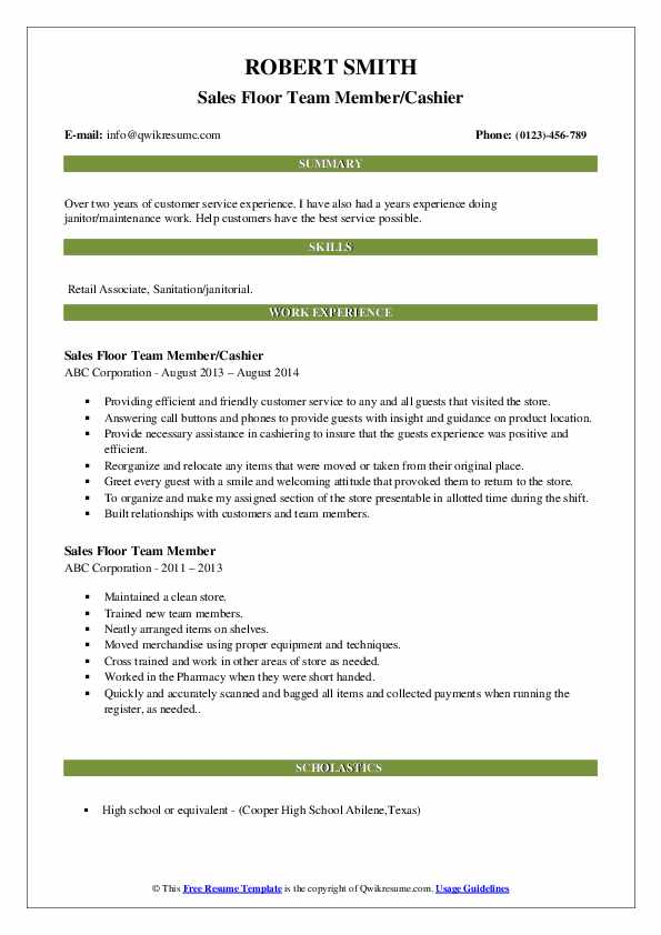 Sales Floor Team Member/Cashier Resume Example