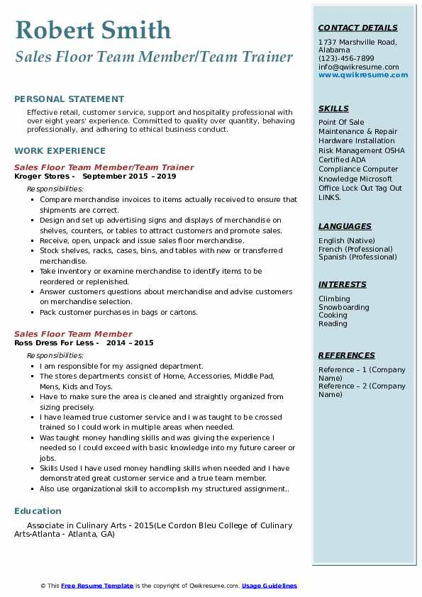 Sales Floor Team Member/Team Trainer Resume Template