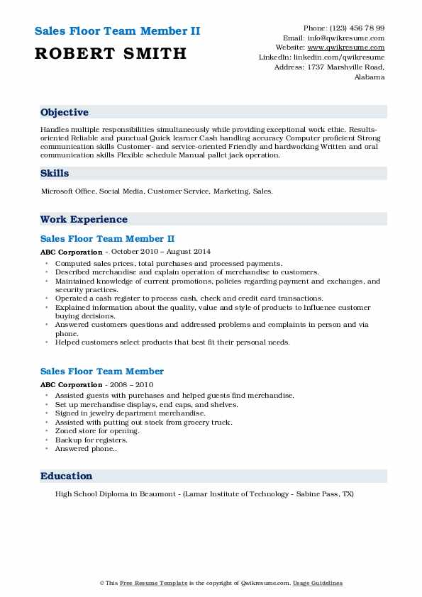 Sales Floor Team Member II Resume Format
