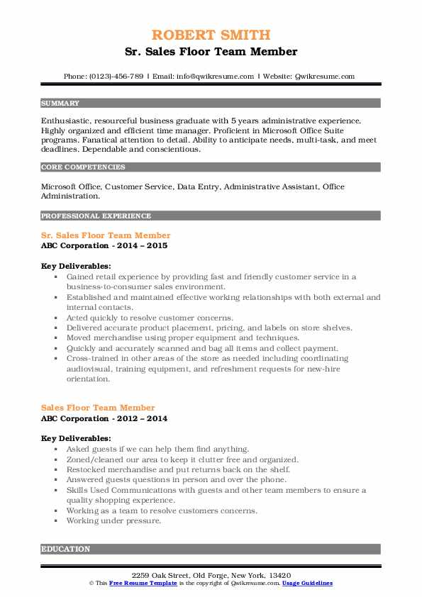 Sr. Sales Floor Team Member Resume Sample