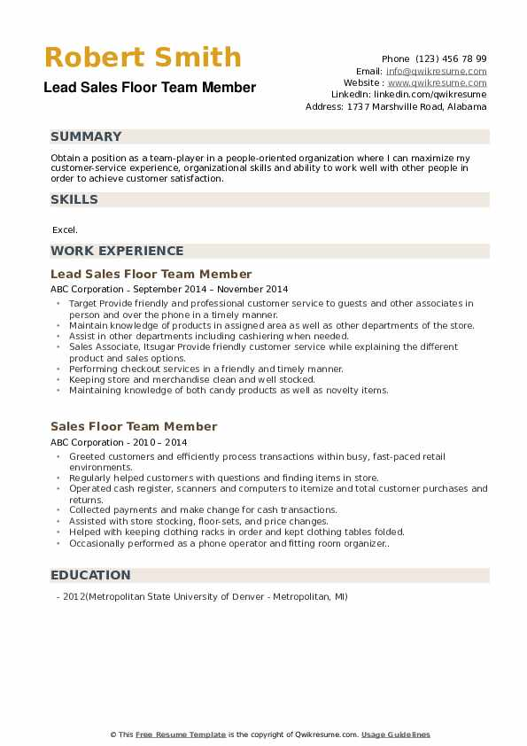Lead Sales Floor Team Member Resume Sample