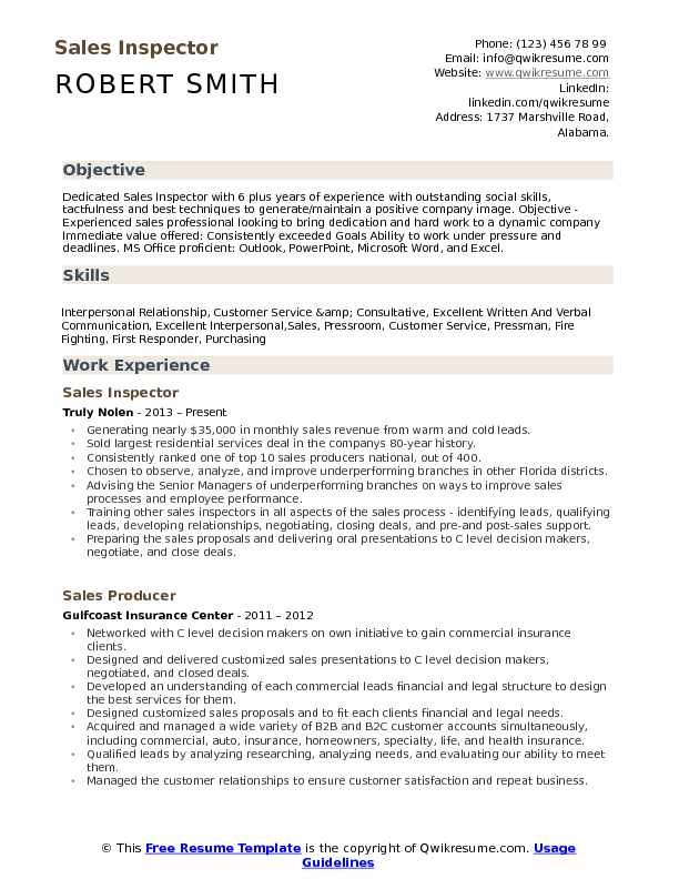 Sales Inspector Resume Template