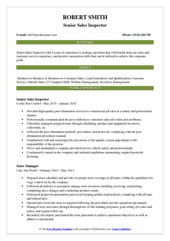 Senior Sales Inspector Resume Sample