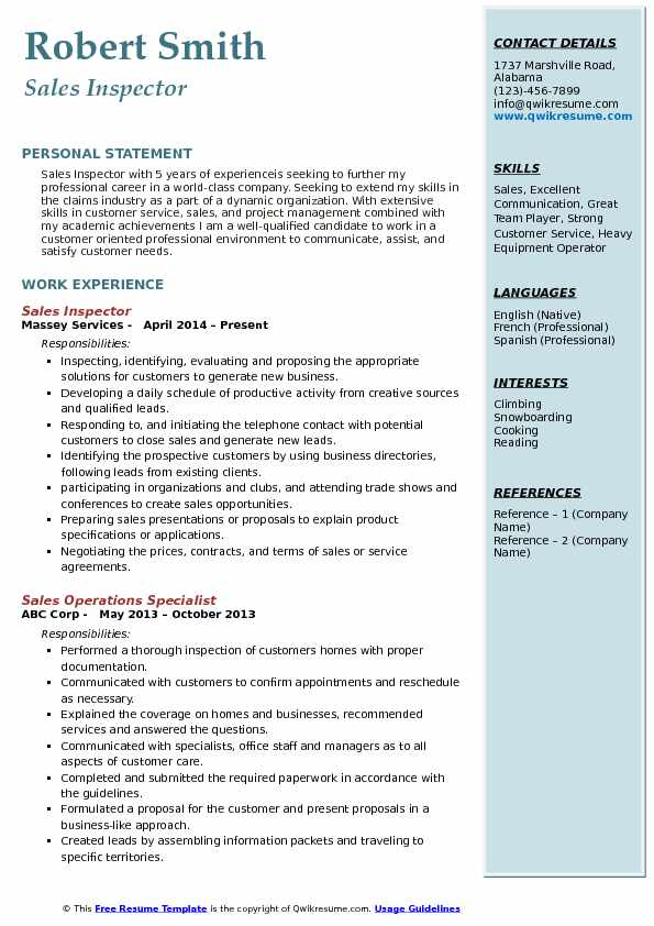 Sales Inspector Resume Sample