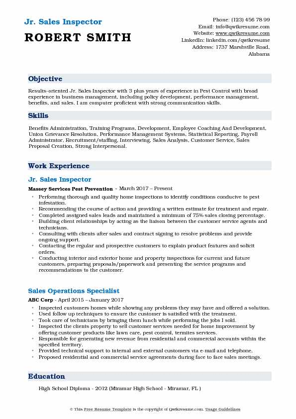 Jr. Sales Inspector Resume Sample