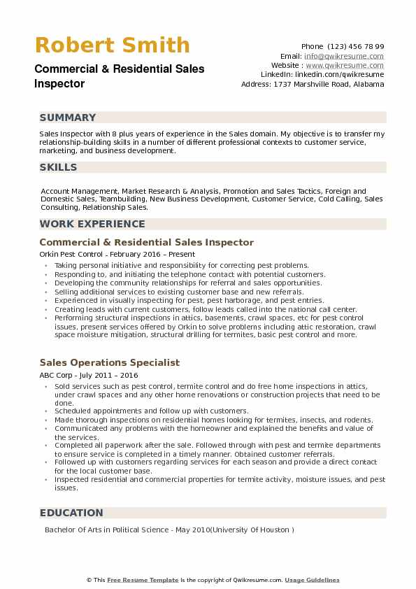 sales inspector resume samples qwikresume