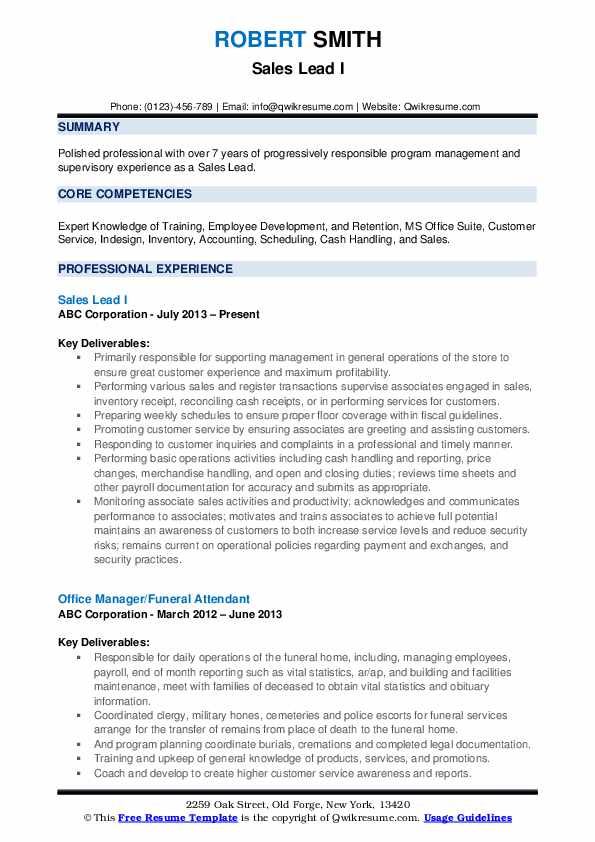 Sales Lead I Resume Template