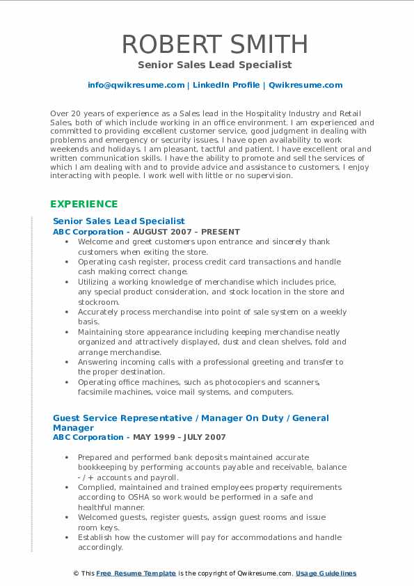 Senior Sales Lead Specialist Resume Sample