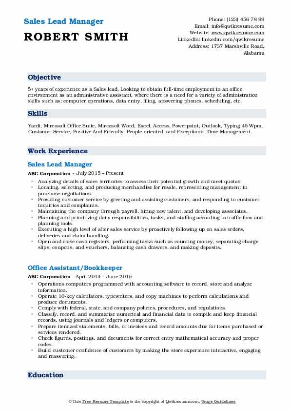 Sales Lead Manager Resume Format