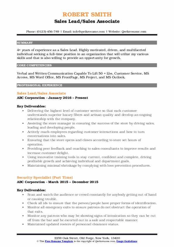 Sales Lead/Sales Associate Resume Sample