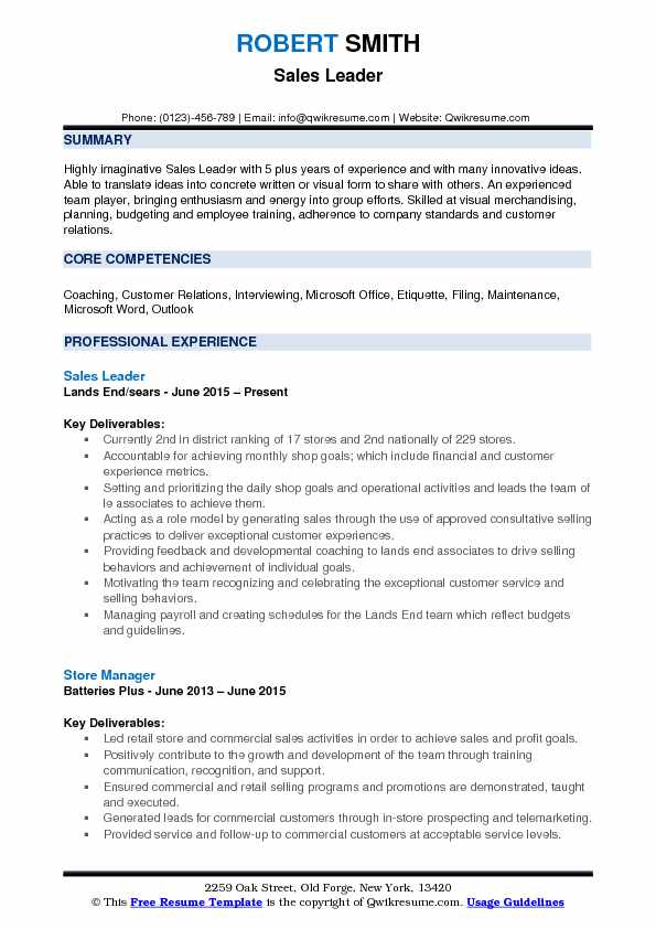 Sales Leader Resume Sample