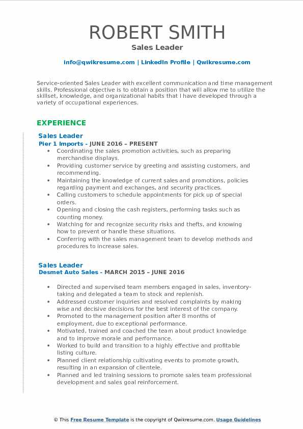 Sales Leader Resume Format