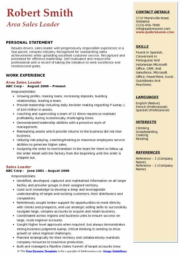 Area Sales Leader Resume Model