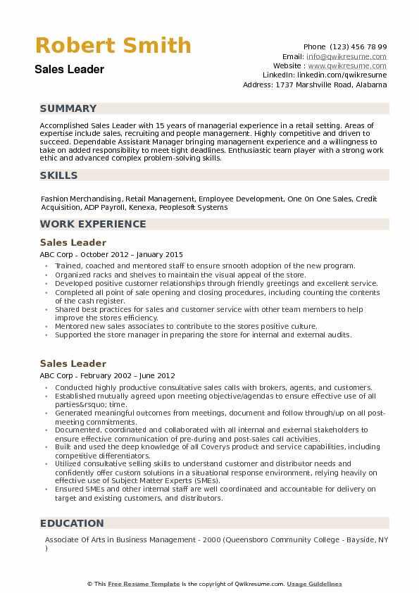 sales leader resume samples