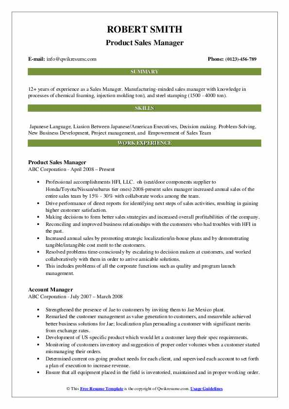 Product Sales Manager Resume Example