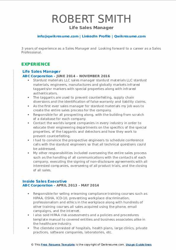 Life Sales Manager Resume Format