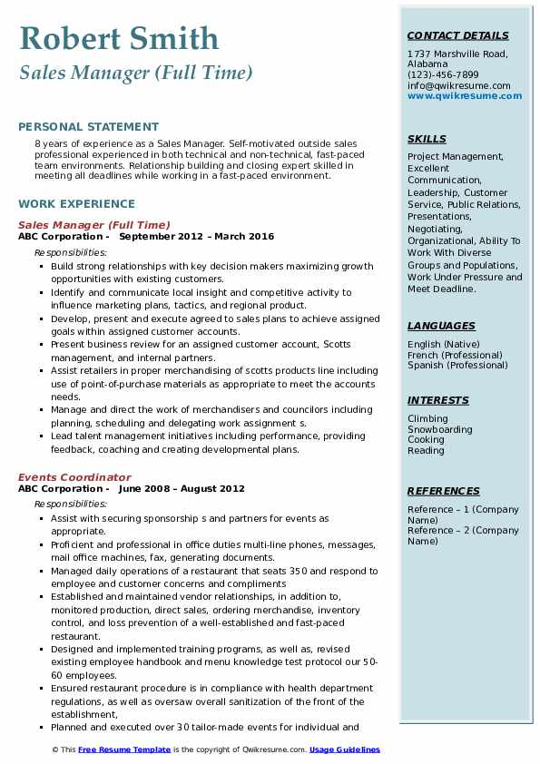 Sales Manager (Full Time) Resume Format