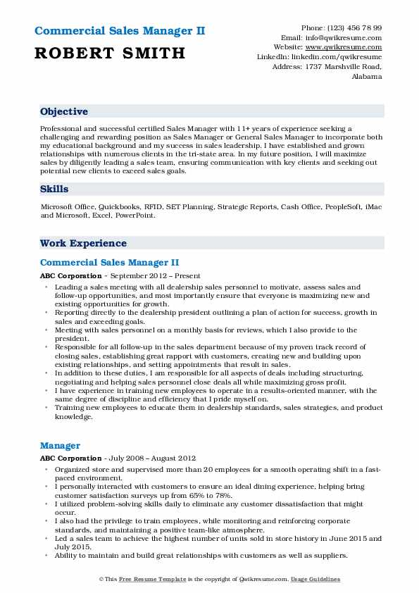 Commercial Sales Manager II Resume Model