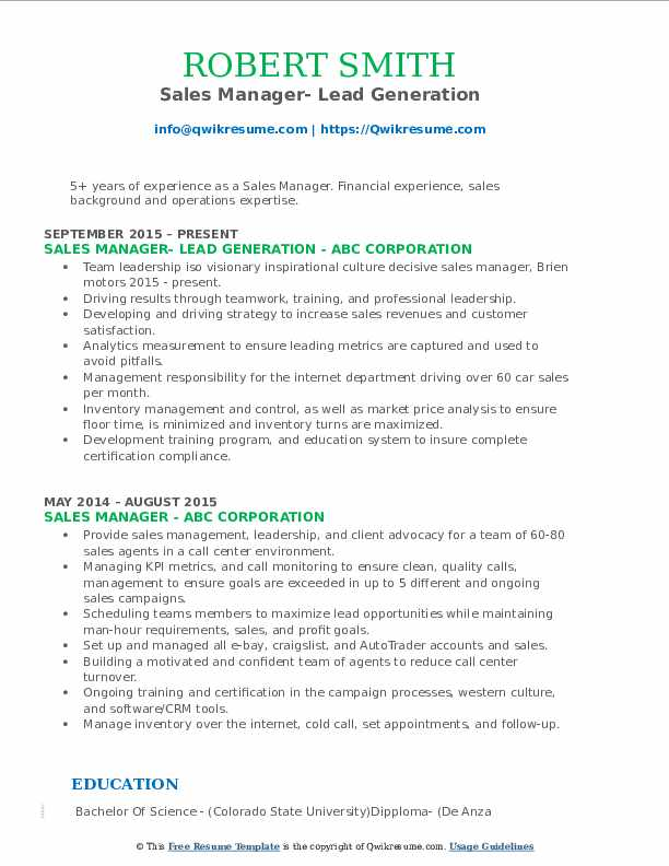 Sales Manager- Lead Generation Resume Format