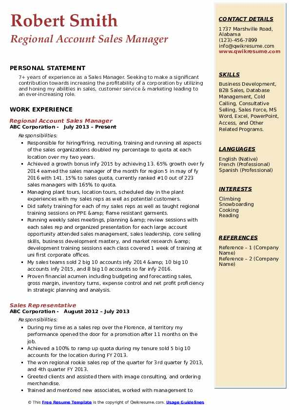 Regional Account Sales Manager Resume Example