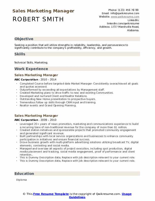 Sales Marketing Manager Resume example