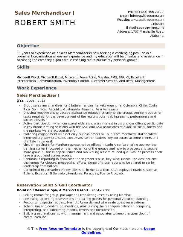 Sales Merchandiser I Resume Example