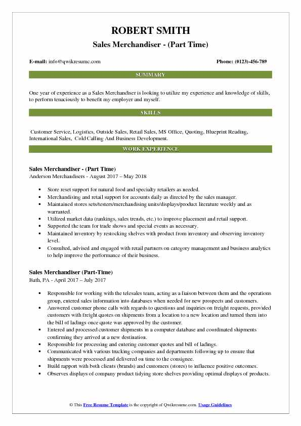 Sales Merchandiser - (Part Time) Resume Sample