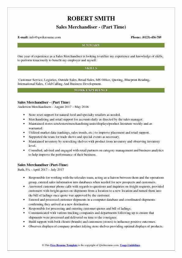Sales Merchandiser - (Part Time) Resume Format