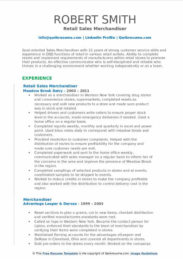 Retail Sales Merchandiser Resume Template