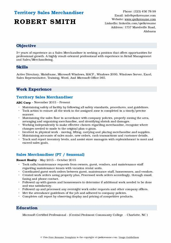 Territory Sales Merchandiser Resume Model
