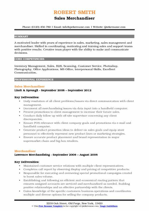 Sales Merchandiser Resume Model