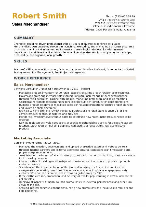 Sales Merchandiser Resume Sample