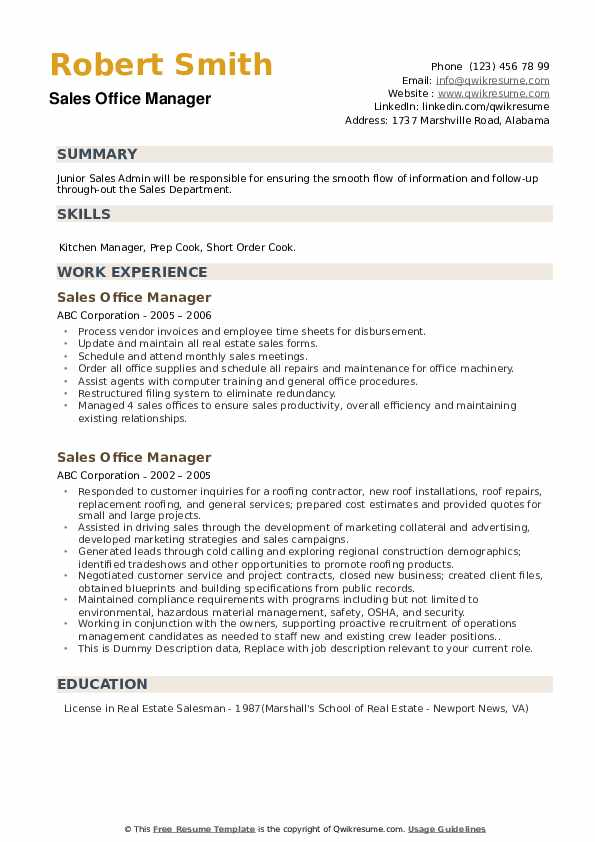 Sales Office Manager Resume example