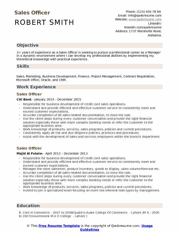 Knowledge Skills And Abilities Resume Example.Sales Officer Resume Samples Qwikresume