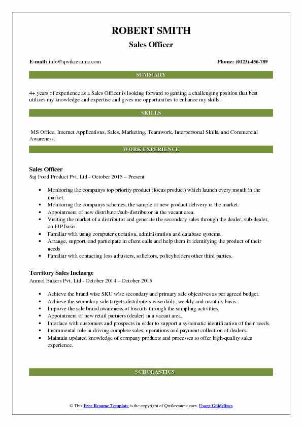 Sales Officer Resume Example