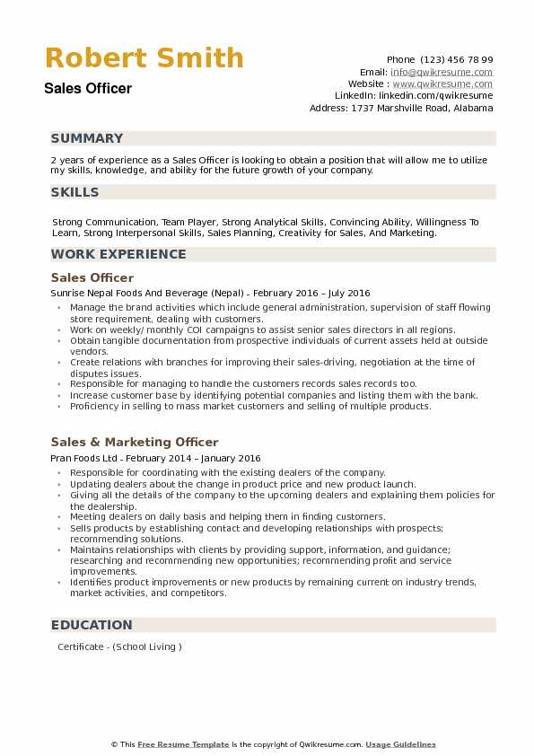 Sales Officer Resume Samples Qwikresume