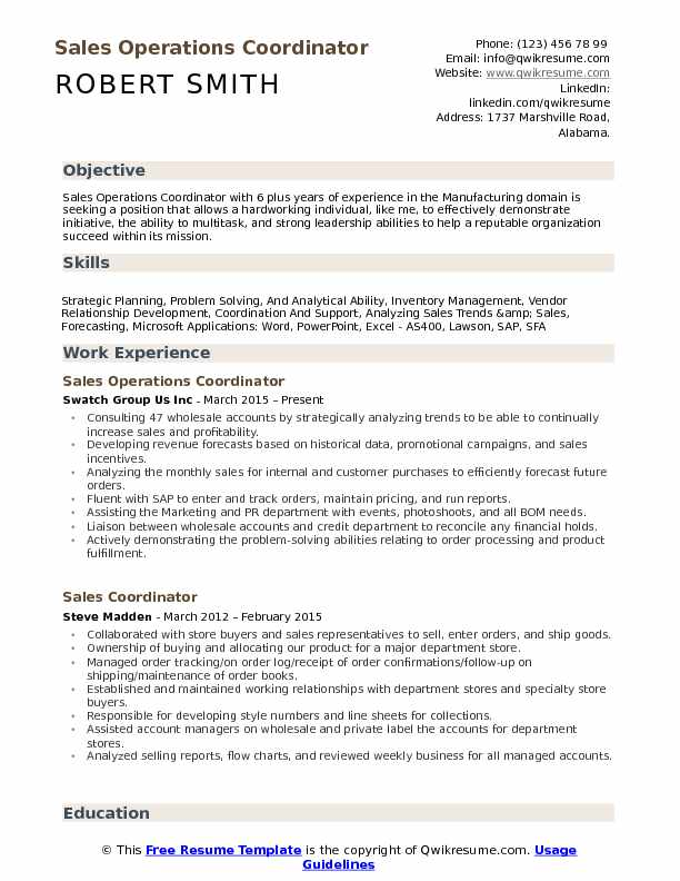 Sales Operations Coordinator Resume Template