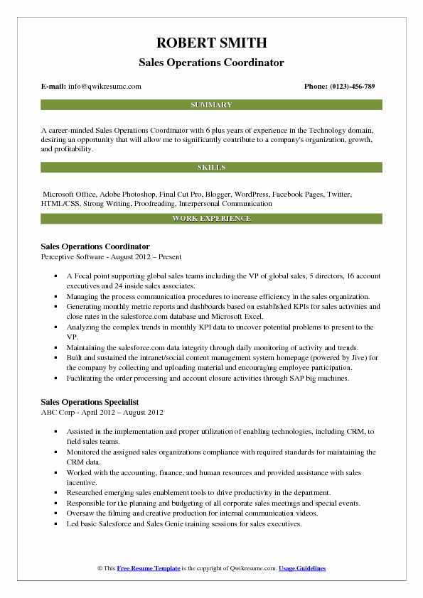 Sales Operations Coordinator Resume Example