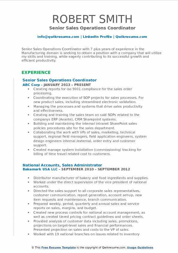 Senior Sales Operations Coordinator Resume Example