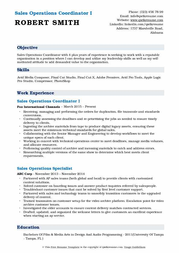 Sales Operations Coordinator I Resume Template