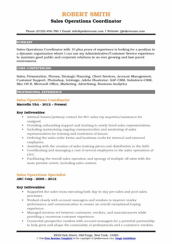 Sales Operations Coordinator Resume Samples | QwikResume