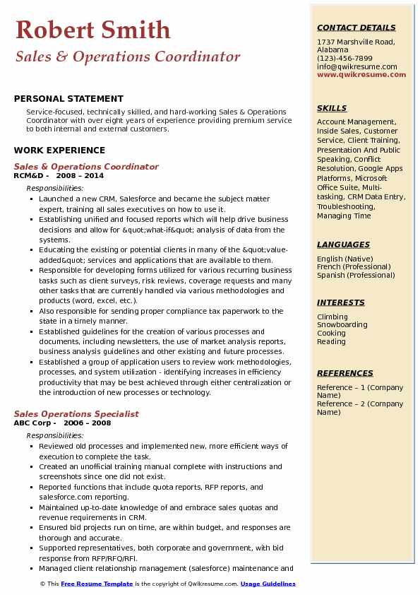 Sales & Operations Coordinator Resume Sample