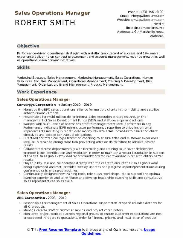 Sales Operations Manager Resume Samples Qwikresume