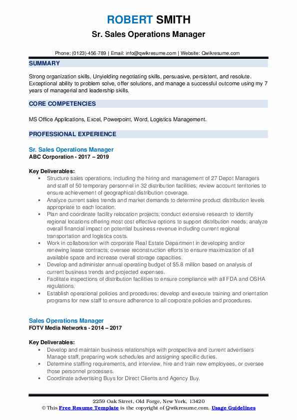Sr. Sales Operations Manager Resume Example