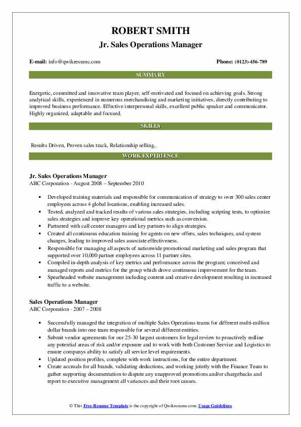 Jr. Sales Operations Manager Resume Example