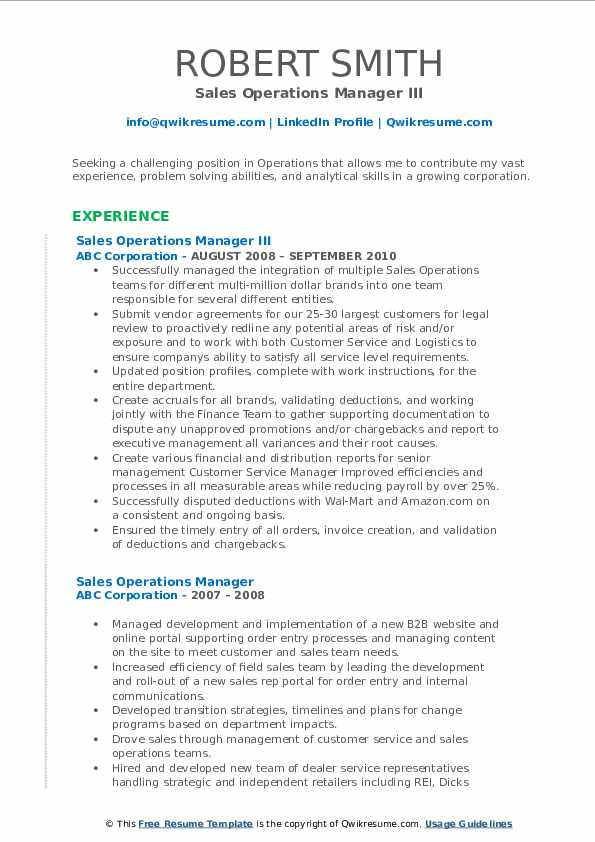 Sales Operations Manager III Resume Model