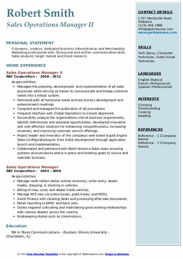 Sales Operations Manager II Resume Example