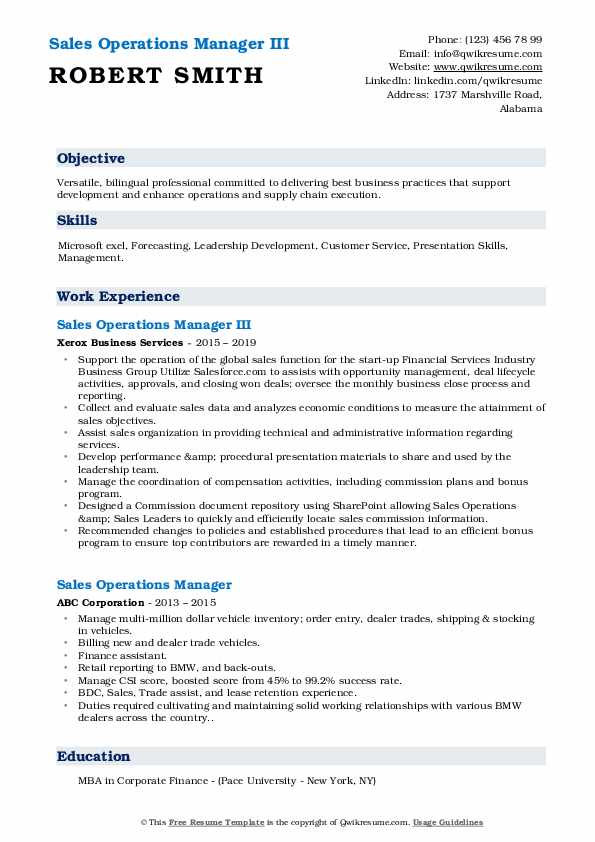 Sales Operations Manager III Resume Sample