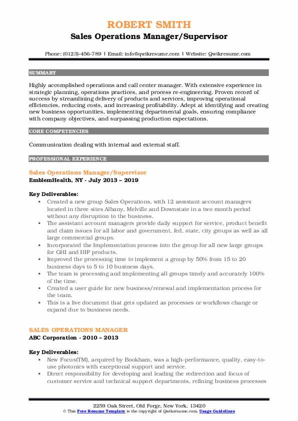 Sales Operations Manager/Supervisor Resume Example