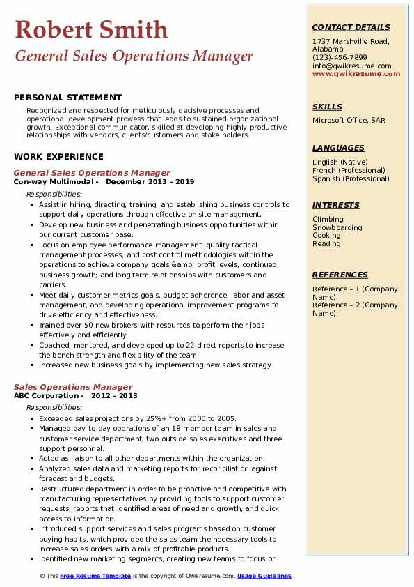 General Sales Operations Manager Resume Template